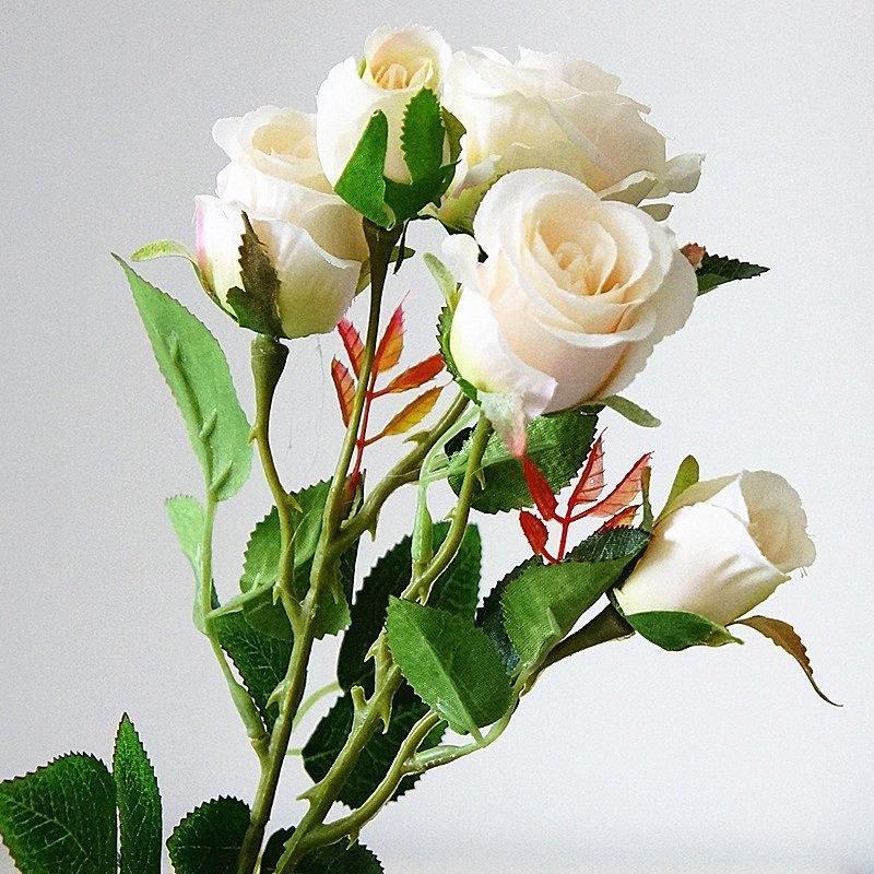 7pcs / lot petite rose branche Fleurs artificielles pour la décoration soie blanche de mariage décoration de jardin Maison de Noël rose # gfUg artificielle