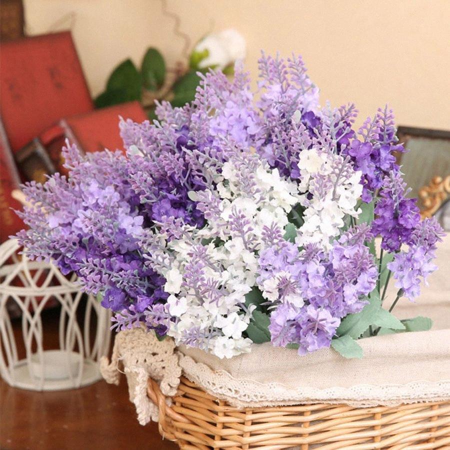 10 teste romantica Provenza lavanda della seta artificiale di fiori viola Bouquet Fake Plastic Fiore Bianco per la casa decorazione di cerimonia nuziale WLB2 #