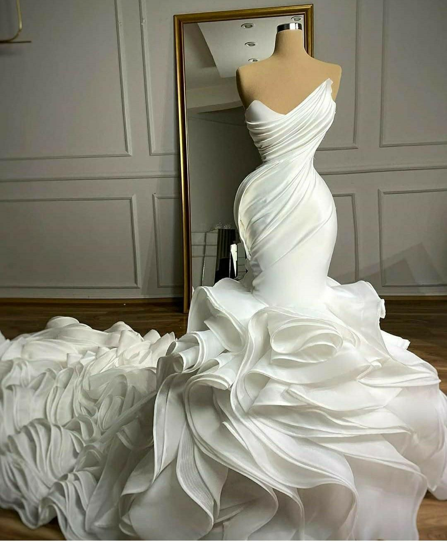 2021 Ruffles Organza Wedding Dresses Bridal Gowns Pleats Sweetheart Chapel Train Gorgeous Nigerian Arabic Marriage Robe De Mariee