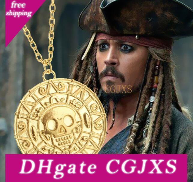 Vintage Bronze Gold Pirate Charms Aztec Coin Necklace Men's Movie Pendant Necklaces for Lady Christmas Gift Statement Jewelry