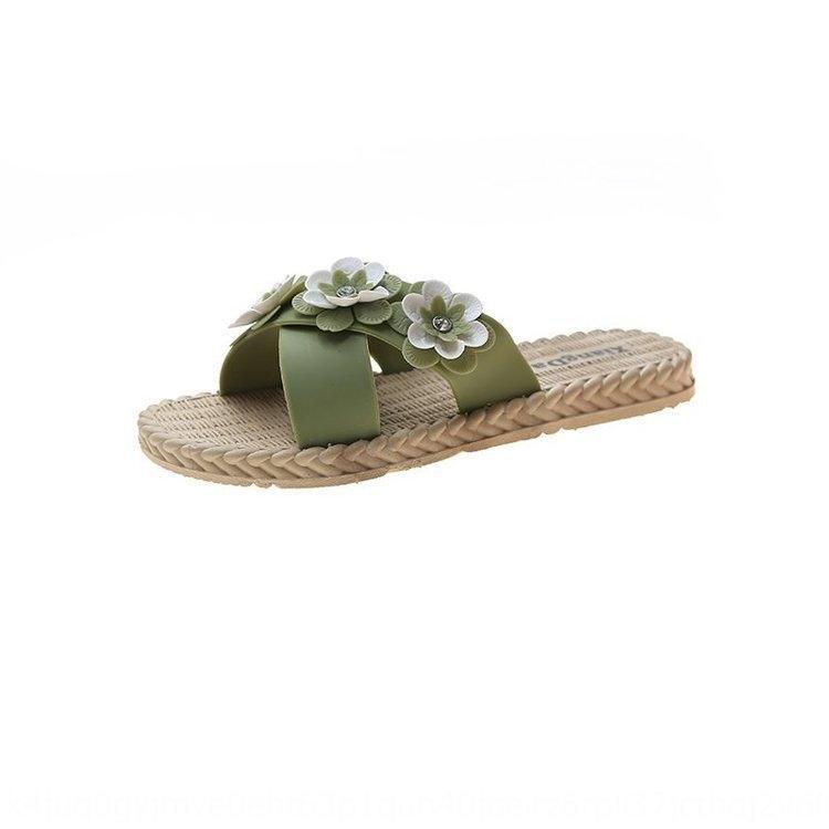 WQbPu de las mujeres flip-flop zapatillas sandalias y zapatillas al aire libre del verano del desgaste estudiante nuevo estilo coreano versátil elegante flor de moda flip-f