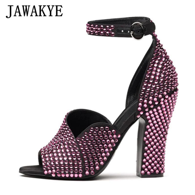 Sandalias de lujo de lujo Rhinestone Full Chunky Tacones altos Mujer Tobillo Correa Cristal Zapatos de verano Plataforma de verano T Show Sexy Fiesta Mujer