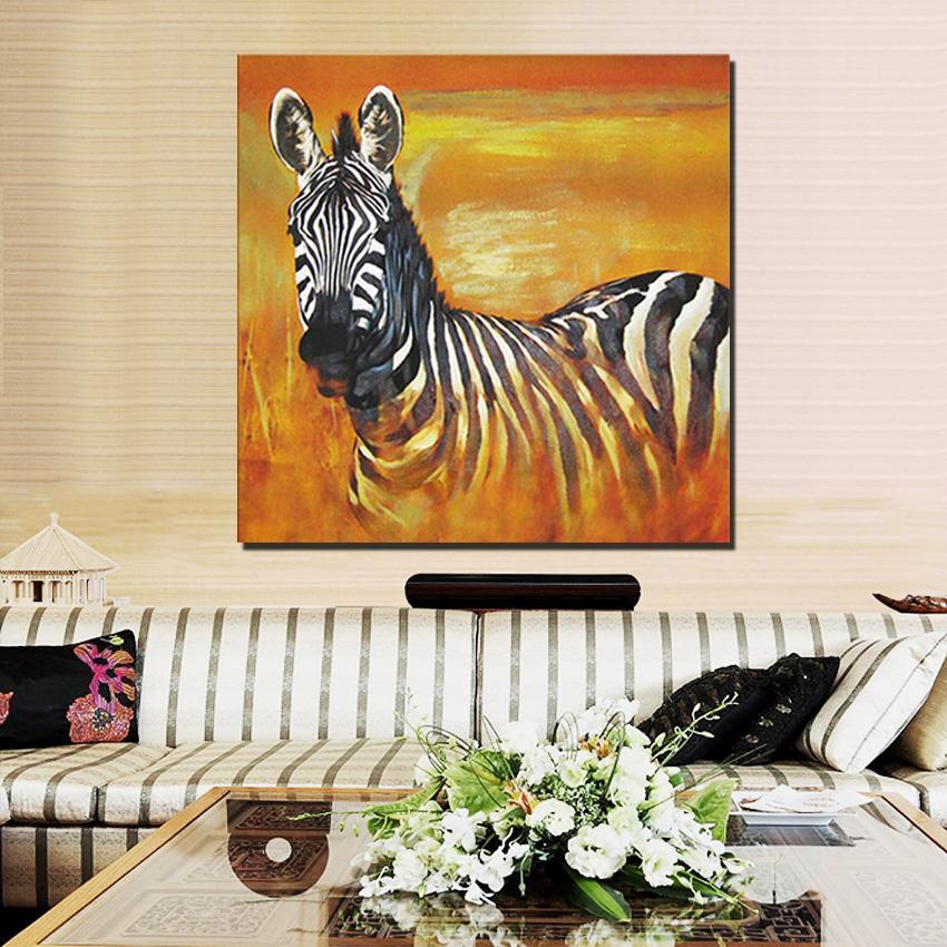 Grande taille animal art africain zèbre huile à la main peinture sur toile pour le salon Décoration murale Peintures Image