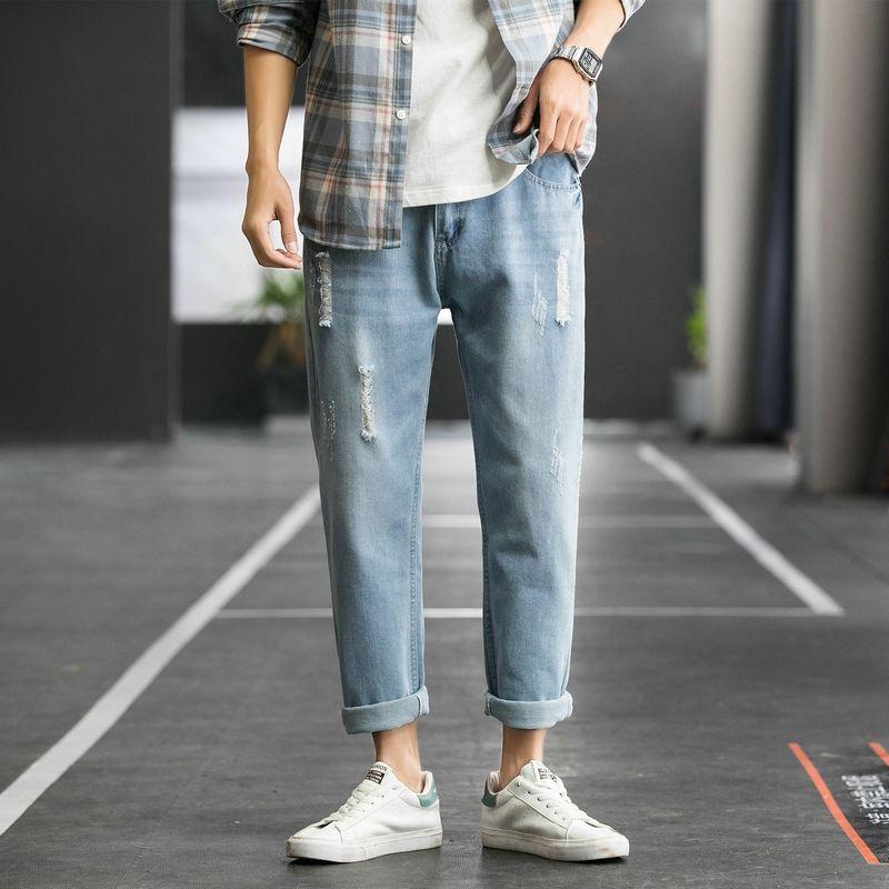 İlkbahar ve yaz erkek yeni moda 2020 erkek Kore tarzı ve kot rahat kişilik yıpranmış moda dokuz sayılık kot
