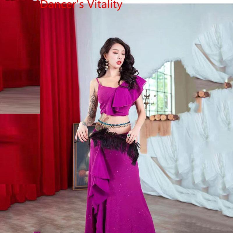 Женщины Танец живота Одежда Египет Одежда Одно рукава Top Sexy High Split Длинная юбка 2 Pecies Восточный танец костюм одежда