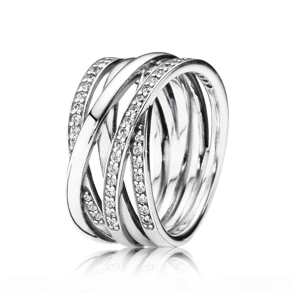 100% Argent 925 Bague enlacés avec Cz Fit Pandora Charms Perles bijoux à la mode anneau de mariage