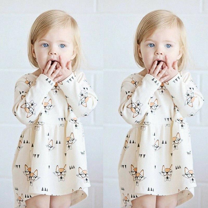 Pudcoco Kız Giydirme 3M-4Y Sevimli Bebek Kız bebekler Uzun Kollu Pamuk Prenses Günlük Parti Elbise Yaz Sundress er1O # yazdır