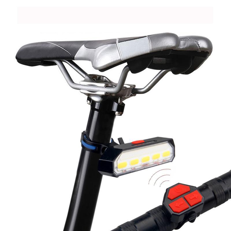 اللاسلكي الدراجة الضوء الخلفي USB قابلة للشحن دراجة مصباح خلفي السلامة WarningTurn ضوء الإشارة مع جهاز التحكم عن بعد