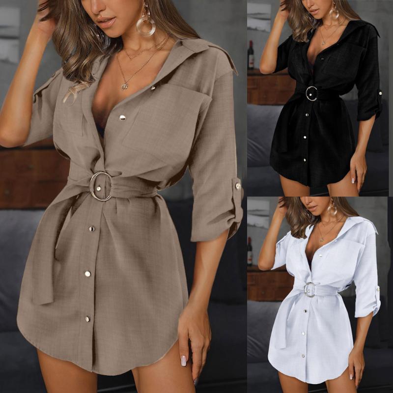 Knopf-Minikleid der eleganten Frauen Kleider Frauen Autum Langarm Minikleid Gurt beiläufige Taschen-Arbeits einfarbiges Shirt