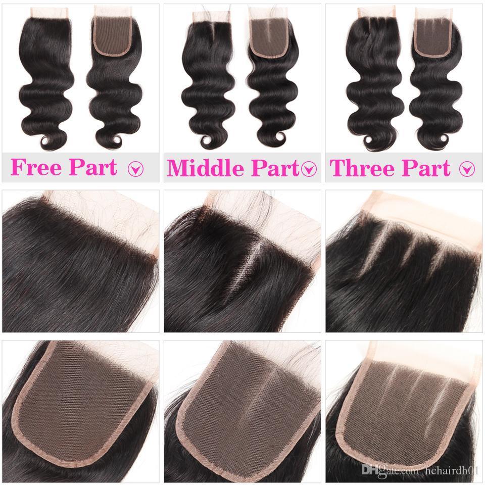 100% del pelo humano del encierro del cordón 4X4 brasileña recta Cierre del cuerpo del pelo de la onda tapa del cordón libre Medio de tres partes de Malasia peruana precio más barato