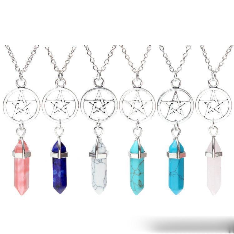Collana di fascino del cristallo naturale Chakra delle collane del pendente della gemma Pietre di moda dei monili di figura della pallottola Circle Five Star quarzo delle donne per ragazze Lady