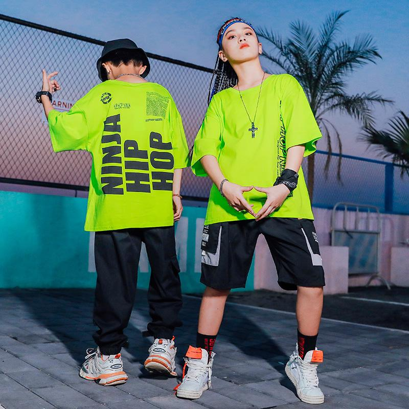 Ropa Hip Hop Dance Kids Clothes verde Felpa allentato Via che balla vestito nero Hip Hop Pantaloni Ragazzi American Clothing BL4287
