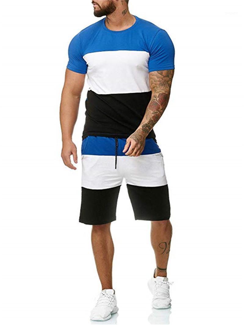 Schnelltrocknende Designer Trainingsanzüge Beiläufiges Kontrast Farbe Short Sleeve Zweiteilige Shorts 20ss Homme Anzüge der Männer