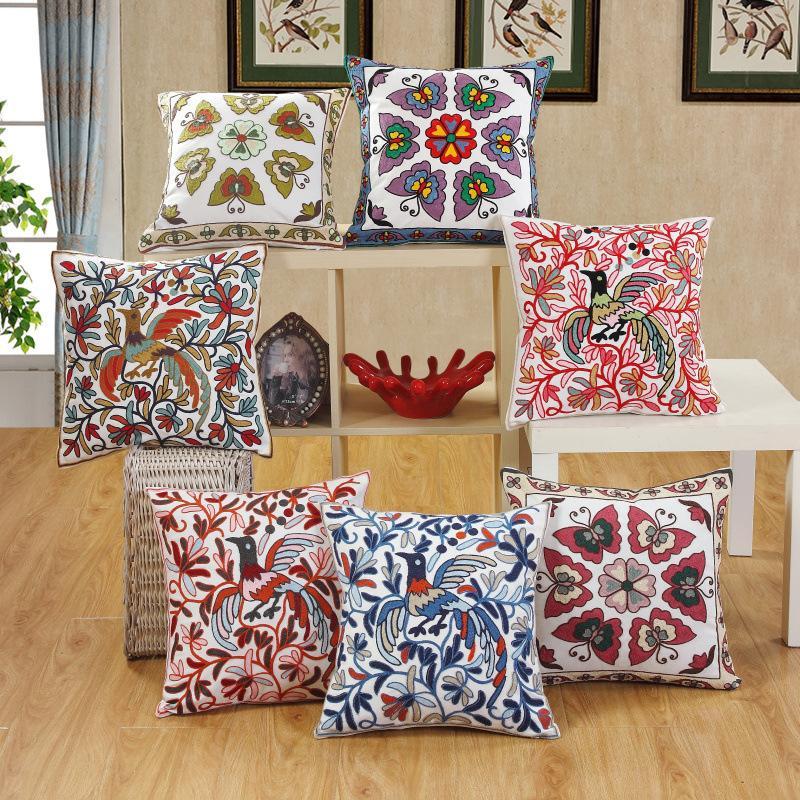 Algodão bordado da borboleta do pássaro Padrão fronha 45 * 45 centímetros Cushion almofadas Capa Cojines Decorativos Para Sofá Início decorativas