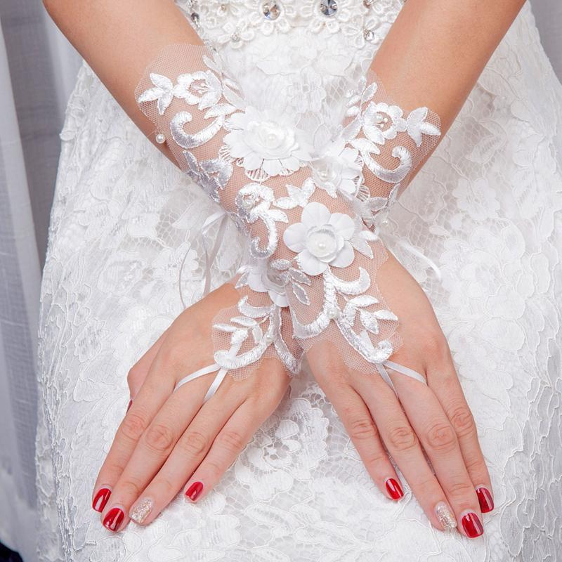 Women Ladies White Elegant Floral Lace Gloves Long Gloves Banquet Prom Birthday Party Fancy Dress Costume Accessories
