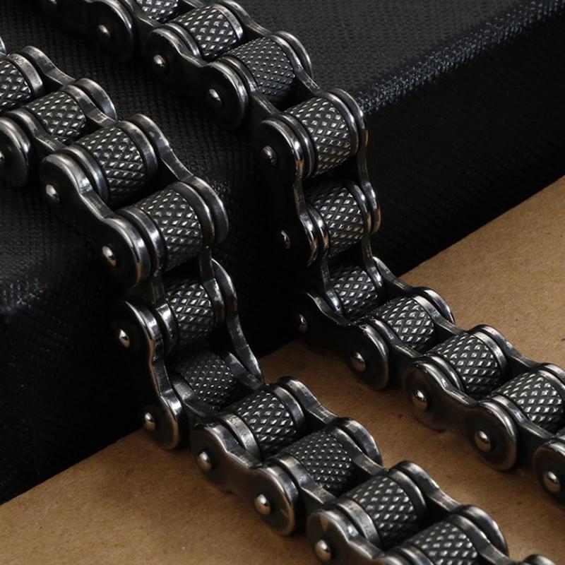 Retro Ağır Fırça Siyah Paslanmaz Çelik Motosiklet Zincir Erkekler kolye 11mm / 13mm Geniş Erkek Bisiklet Biker kolye Hip-Hop Takı