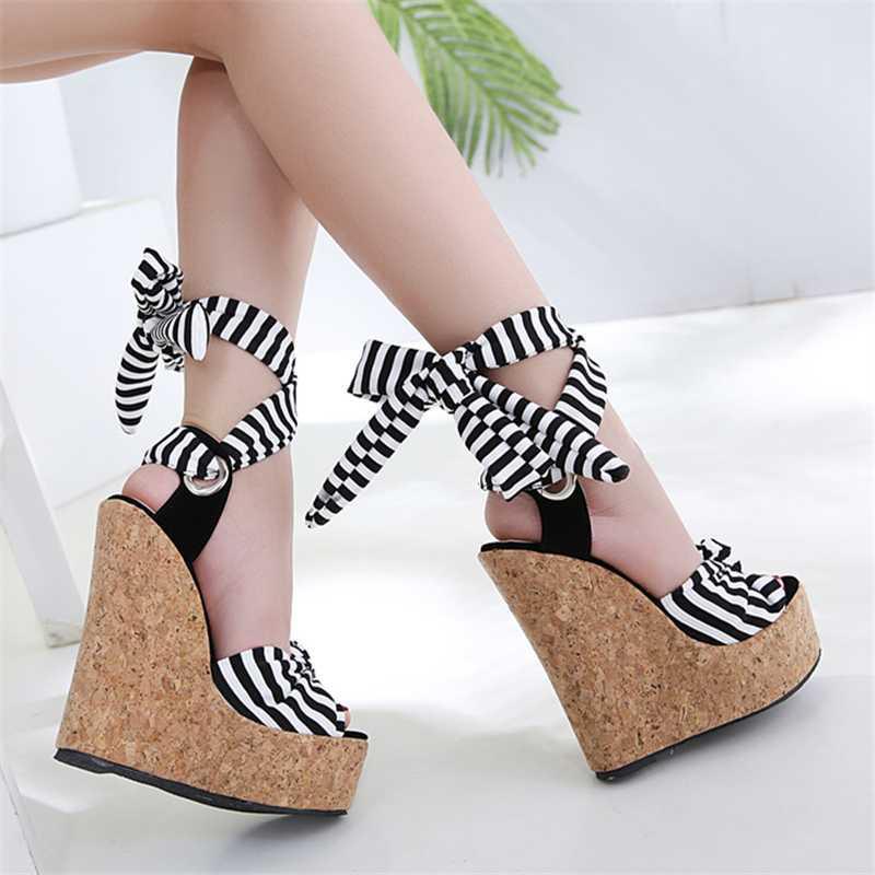 2020 Women's Stripe Ankle Strap Summer Gladiator Sandals Wedges High Heels 16cm Sexy Peep Toe Platform Woman Roman Shoes Autumn