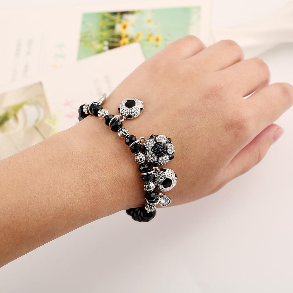 Ball game jewelry, new fashion and popular basketball football elastic bracelet, men and women crystal sports jewelry