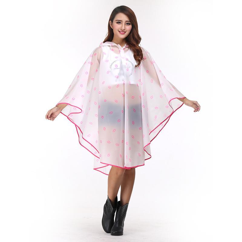 Transparent Women Rain Poncho Waterproof Fashion Rainwear Cover Hiking Reusable Impermeable Yagmurluk Raincoat with Hood EB50YY