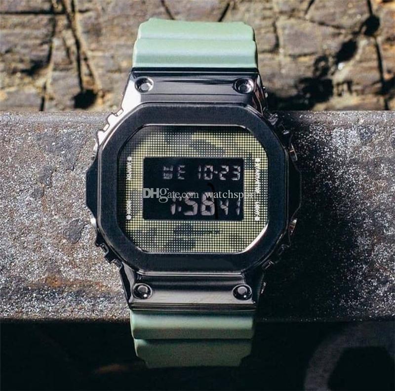 Moda trendi Erkek Spor Saatler Yüksek Kaliteli Küçük Küp G Stil Şok Saat Yeni Tasarımcı İzle Fonksiyonlu LED ekran 50m su geçirmez