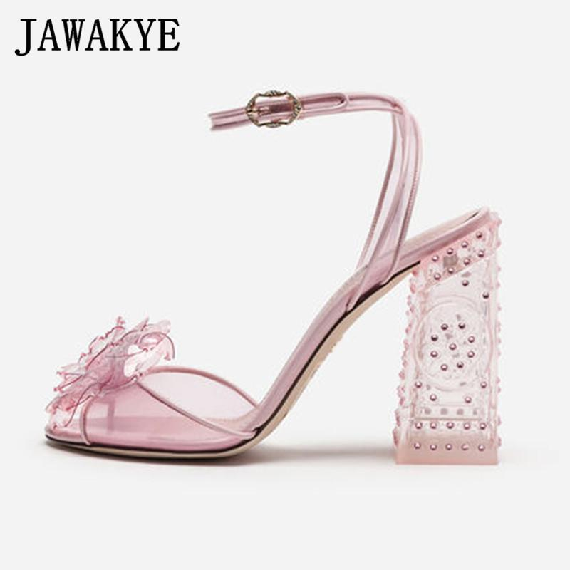 En Yeni Şeffaf Kristal Sandalet Kadınlar Temizle Chunky topuklu Pembe Yeşil yüksek topuk ayakkabı Kadın PVC Çiçek bayan Yaz Partisi Ayakkabı