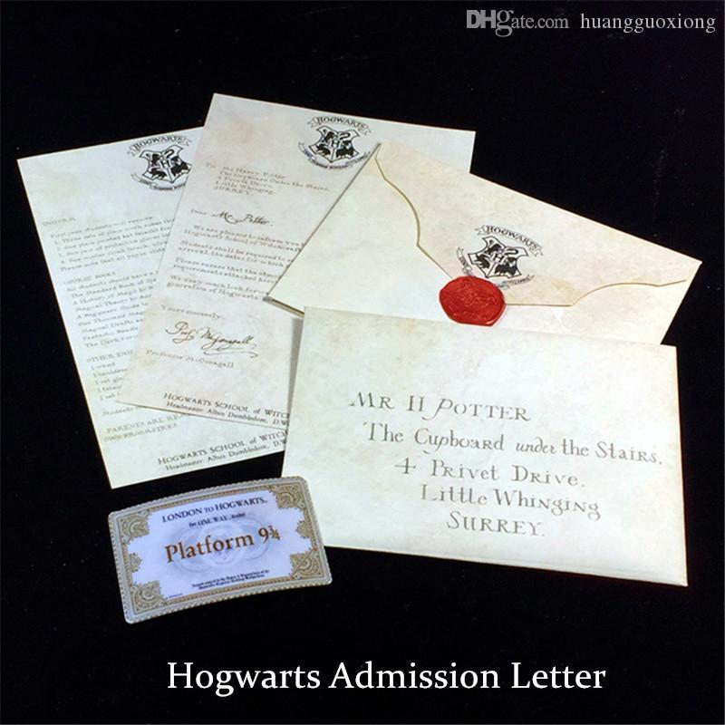Quente Harry Botter Hogwarts Advertência de Admissão de Carta com Envelope Bilhetes e Colar Realista Filme Aceitação Carta Crianças Presente