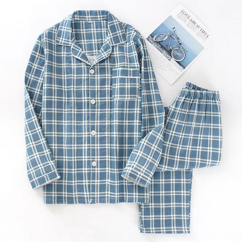 Весна и лето 19 новых мужской плед пижамы набора пижама хлопка двухслойного pajamasgauze тонкой с длинными рукавами брюки домашней одежды