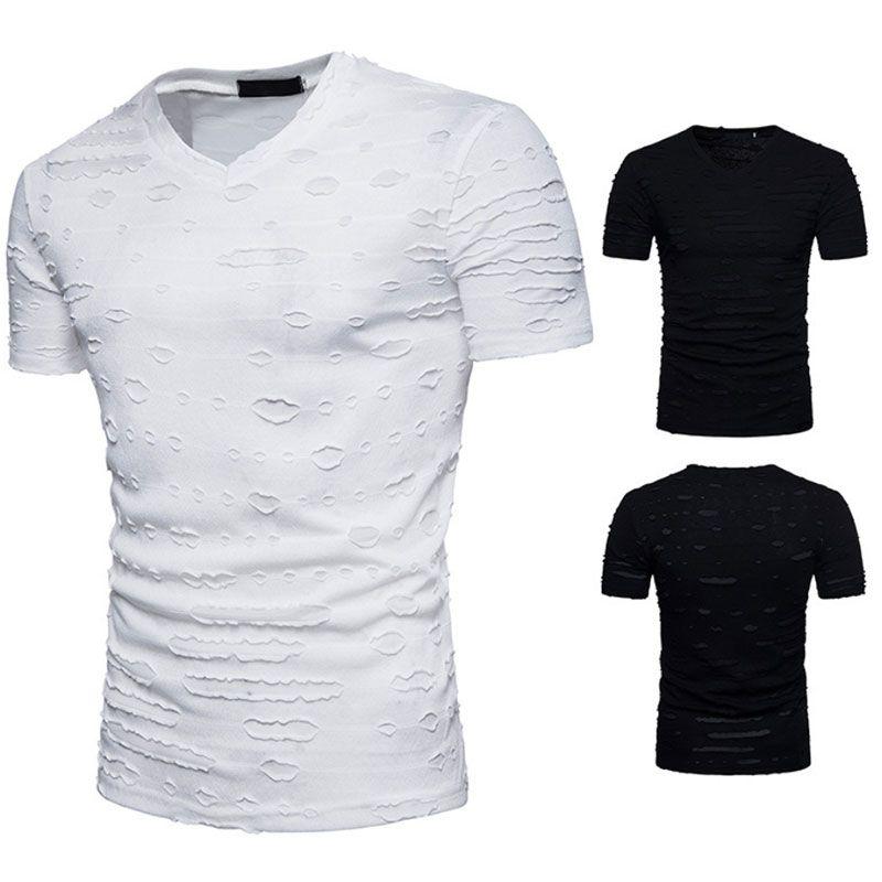 Hip Hop rasgado agujero de la camiseta de la calle de moda de manga corta camiseta de los hombres del diseño del monopatín camisetas del deporte del verano Top