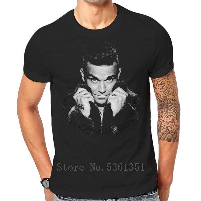Banda Robbie Williams Camiseta Homens clássicos Black Rock New T-shirt 3-A-106 camisas Hipster O-Neck T