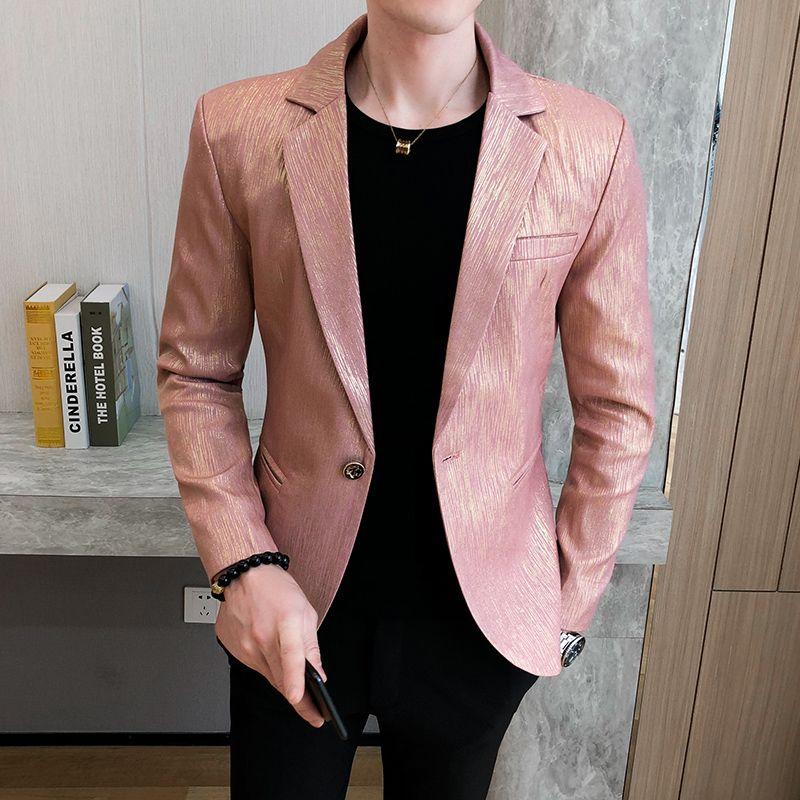 Mens Blazer Vintage-England-Art-Rosa Blazer der Männer Homme Herren Stilvolle Jackett Männer Slim Fit Anzug Mantel-Kleid-Jacke