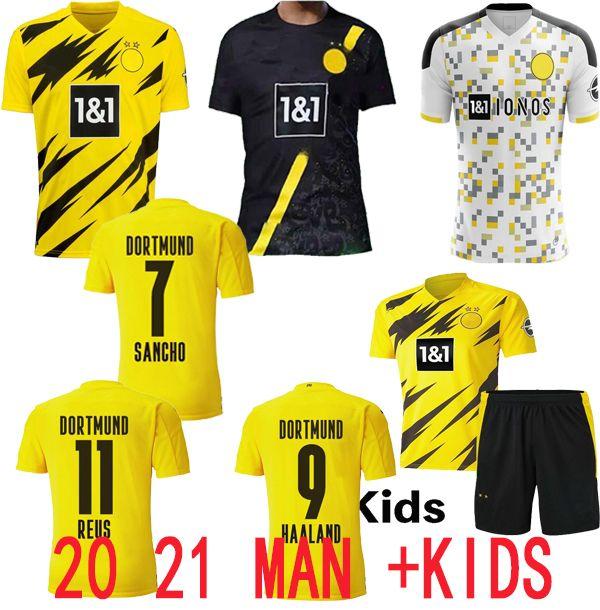20 21 Haaland Borussia Hazard Fussball Jersey 2020 2021 Fußballhirt 110th REUS HUMMELS SANCHO Brandt Männer + Kinder Kit MAILLT