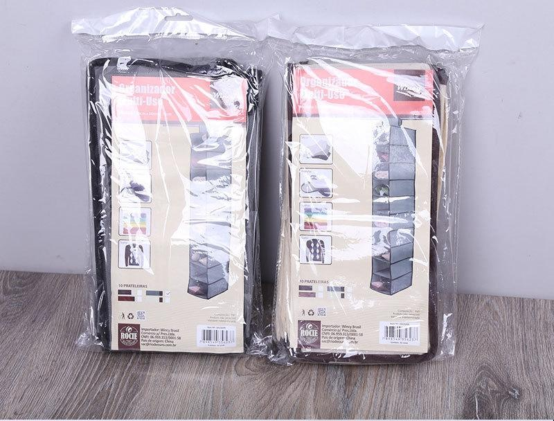 tecido liso não tecido dobrável arranjo de armazenamento de suspensão não-tecido saco sapato-camada dez saco pendurado sapato