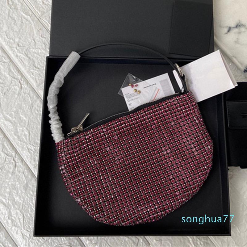 Tasarımcı-2020 Moda yarım daire çantalar son kadın deri fermuar çanta düz cebi omuz haberci Çek matkap çanta