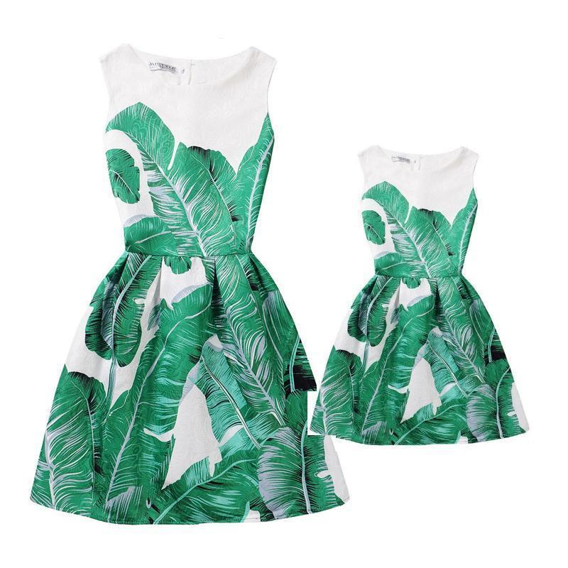 Verão Mãe Vestidos filha roupas mãe e filha vestido família Mesma roupa olhar roupa Imprimir Mae e Filha Vestido Y200713