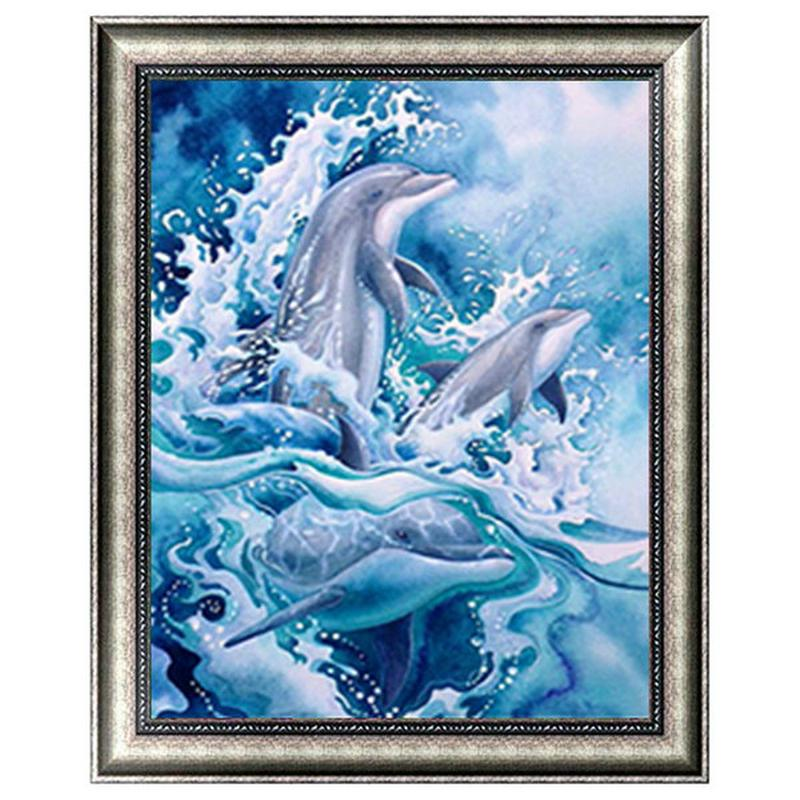 Dolphins Play Water Full Drill 5D Diamond Round Rhinestone Embroidery Painting DIY Cross Stitch Kit Mosaic Draw Home Decor Gift