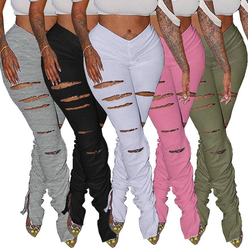 Women Stacked Leggings Sexy Hole Ripped Pants Ladies Split Flared Trousers High Waist Sweatpants Fashion Female Joggers Pants 050724