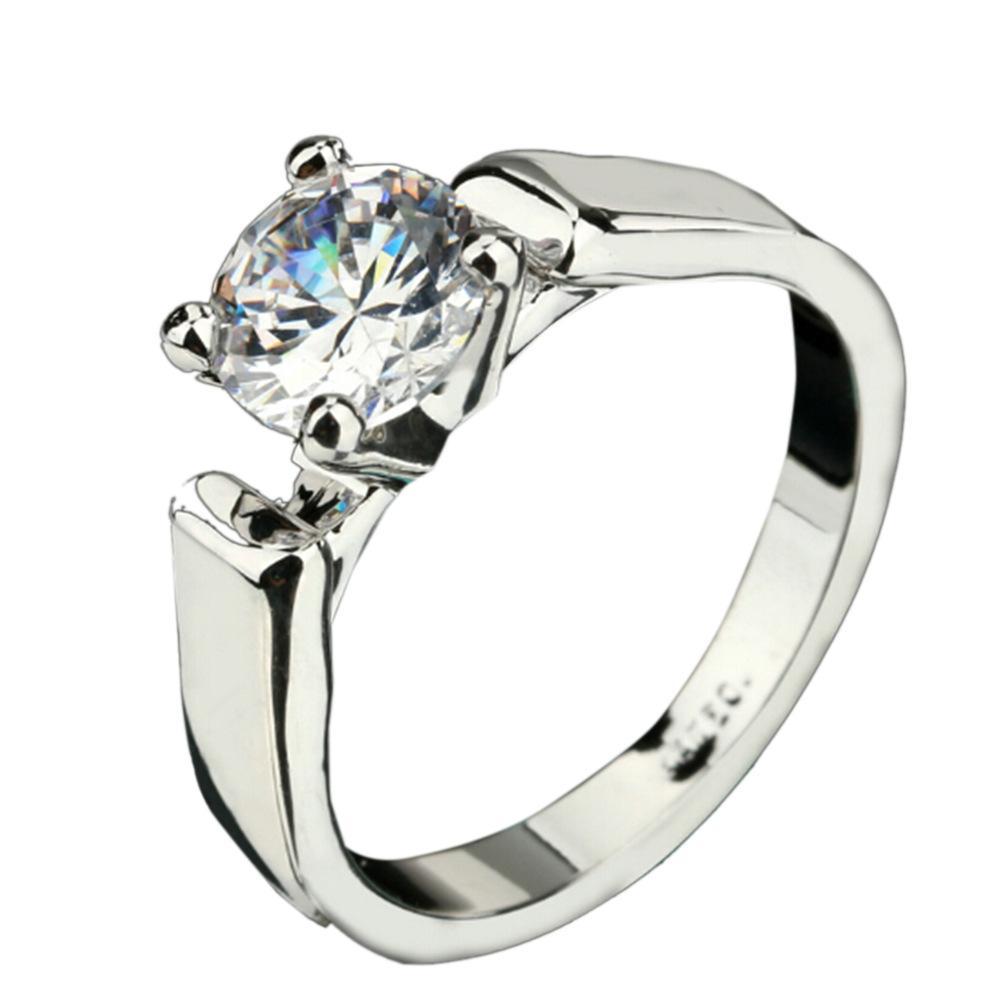 간단한 반지 입방 지르콘 약혼 반지 925 고품질의 지르콘 반지 여성 크리스마스 선물 무료 배송