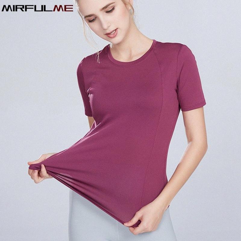 Verano deporte de las mujeres Tops del remiendo de malla Yoga camisas de manga corta sólido aptitud que se ejecuta la camiseta elástico transpirable Gimnasio remata la blusa FWzk #