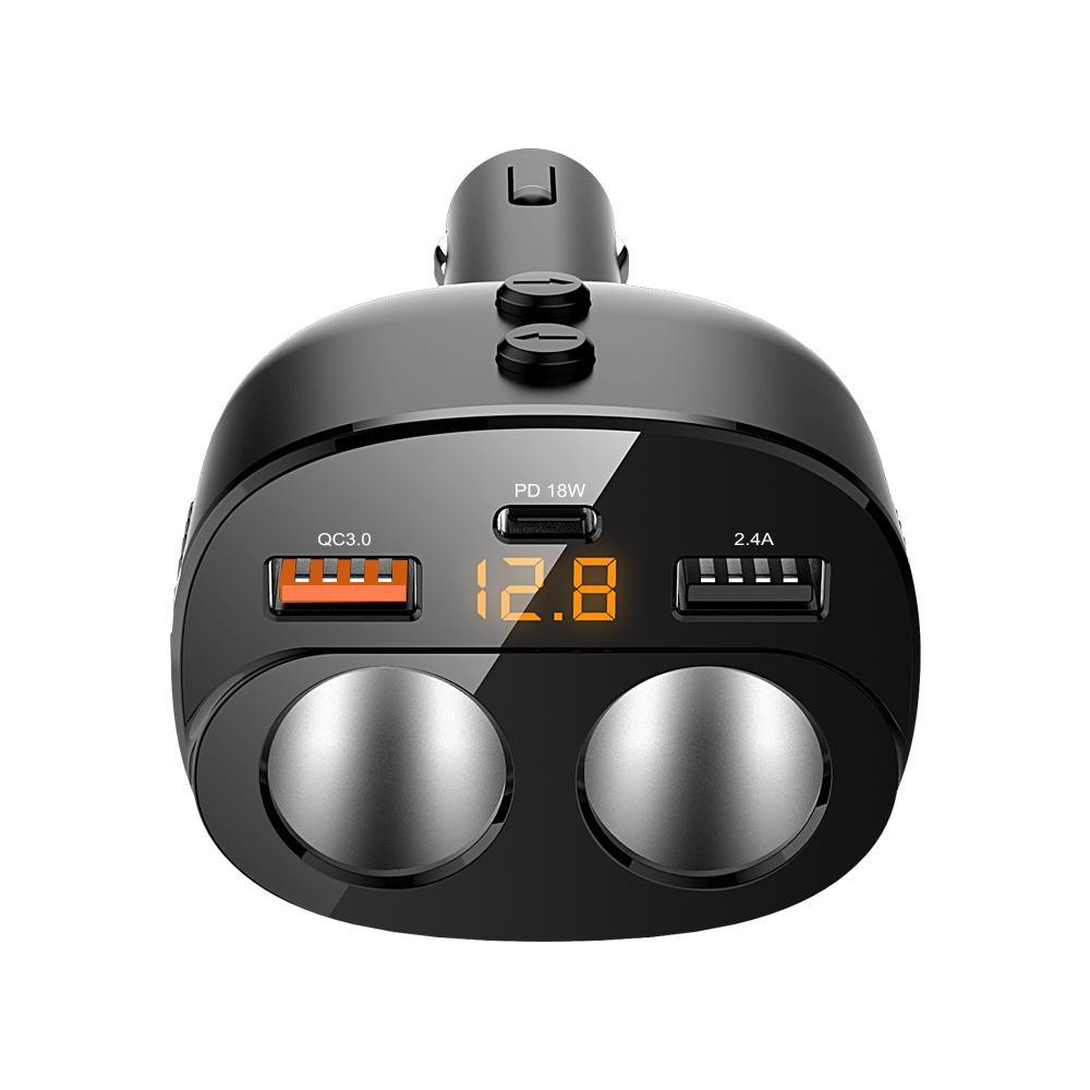 USB CTYPECCar Charger Cigarette Lighter Splitter 80W Power Socket adapter 5IN1 5V 3.1A