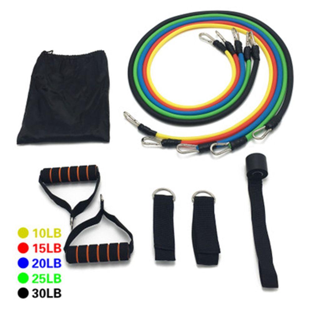 11pcs / Bandas Set Resistência Latex Gym porta de borracha Laço Bandas tubo de âncora correias do tornozelo Com Saco Kit Set Yoga Exercício Banda de Fitness