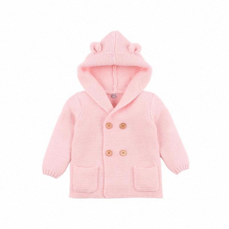 Invierno muchachas de los bebés de punto Cardigan chaquetas Trajes Calentar infantil otoño niños suéteres manga larga con capucha Escudo Niños ropa 2Xl4 #