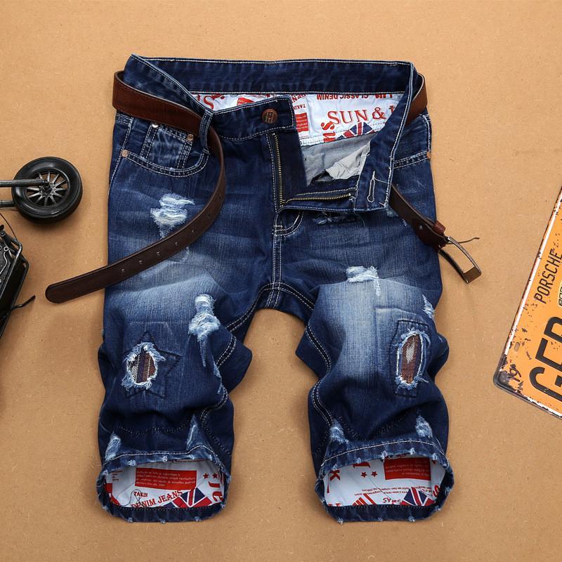 2020 do New Men Verão Denim Shorts Rua Vestuário Tendência Personalidade Magro buraco azul curto jeans macho marca de roupa