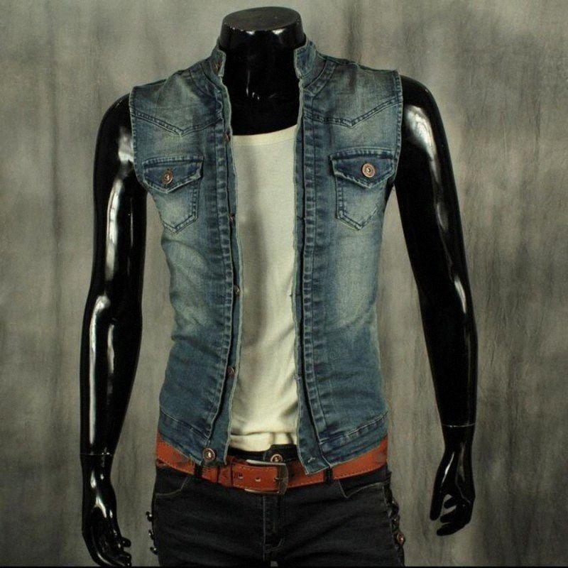 Qualitäts-Frühlings-Sommer-neue Marken-Mode-Männer Single Button Westen Stretch Cotton Jean Westen Jacken chaleco Größe 2XL d1E8 #