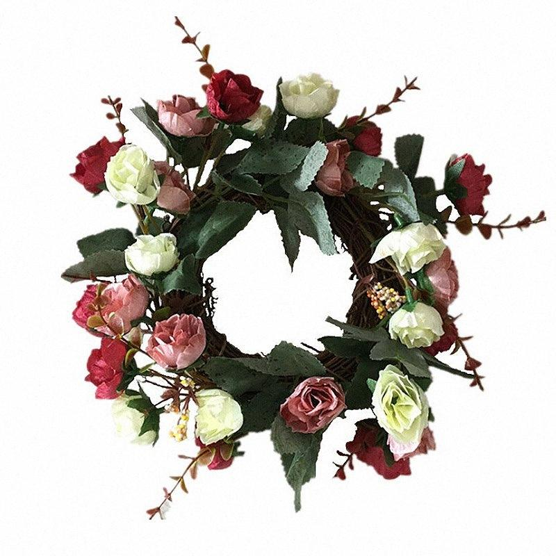 Garland Weihnachten künstliche Rose Blumen-Kränze Tür Handgefertigte Fake Flowers For Home Bauernhof Dekoration Ghirlanda Natale Bsuy #