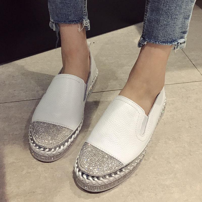 Europea remiendo Alpargatas mujer de los zapatos de cuero genuino enredaderas Pisos señoras de los holgazanes del cuero blanco Mocasines b1