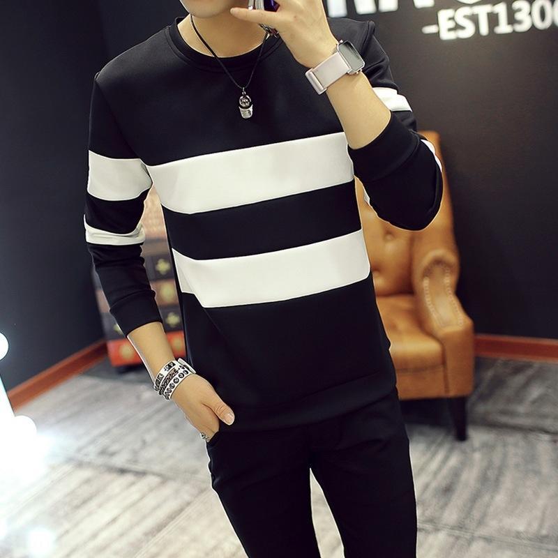 Top осень футболка свитера новых мужские с длинными рукавами футболки корейского стиля верхней полосатого свитером Приталенных личностей студента tkAro
