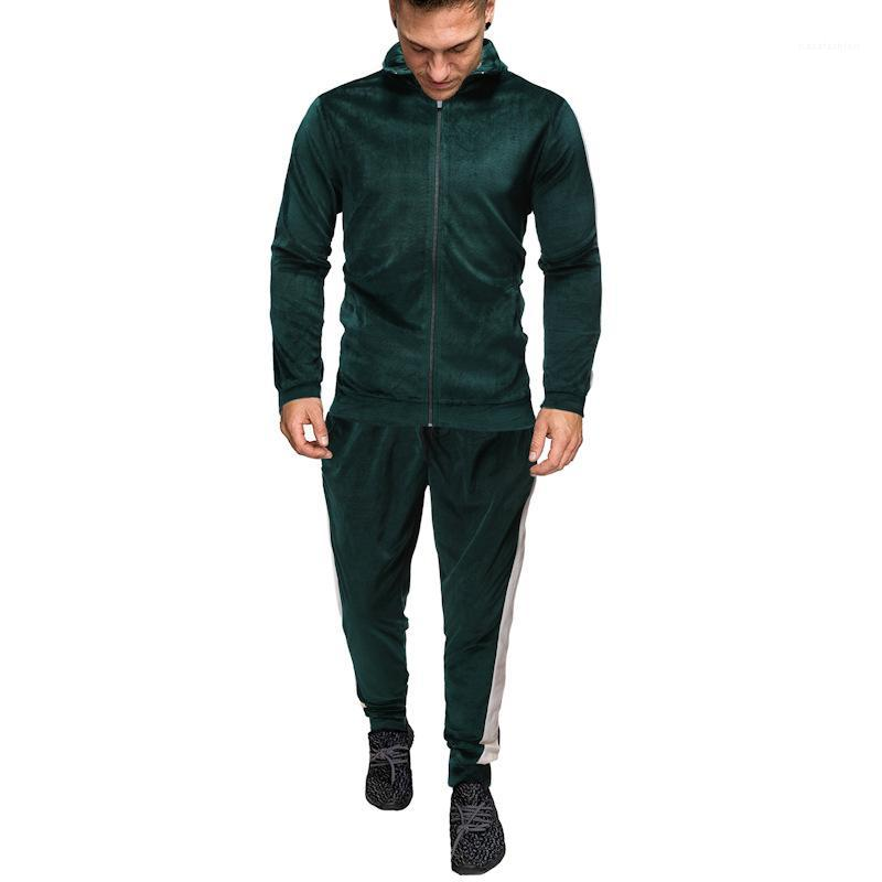 Al aire libre Sportwear Hombre Ropa de Hombre 2 piezas Conjuntos otoño capa ocasional de moda cremallera chaqueta de los chándales con paneles