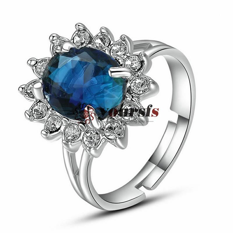 Timefs 18 k bianco placcato oro uso Austria elementi forma ovale sapphire girasole anello di nozze donne gioielli di satmenti