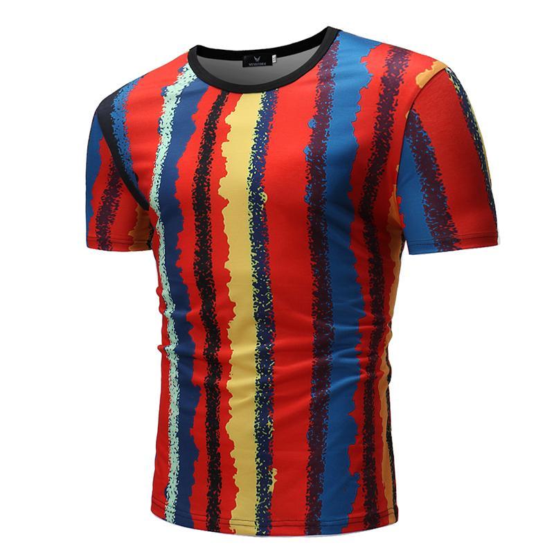 Hommes T-shirt 2020 Nouveau Arrivée Fashion Designer Casual de haute qualité d'été à manches courtes de couleur rayures Chemise