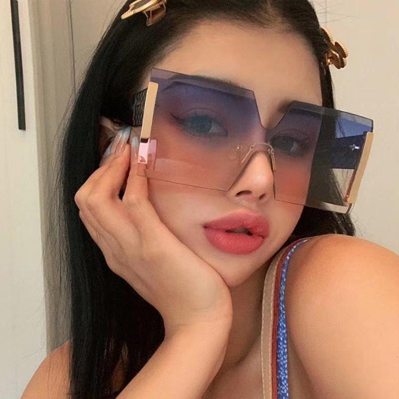 2020 новых цельные бескаркасных ПК материала очки большого объектива случайных солнцезащитных очков, женских модные личности уличной фотография анти UV400